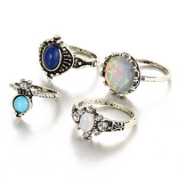 Women 4PCS Strong Character Ring Gemstone Hot Sale Vintage Set [10681937679]