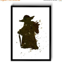 ON SALE 20% OFF Instant Digital Download Star Wars Master Yoda Watercolor Art, Yoda Poster Instant Download