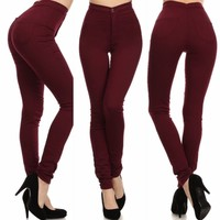 Burgundy High Waist Skinny Jeans Sizes 5,7,9,11, Made in USA