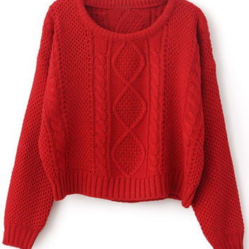 ROMWE | Cable Knit Red Short Jumper, The Latest Street Fashion