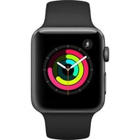 LMFGQ6 Apple Watch Series 3 42mm Aluminum Case w/ Black Sport Band