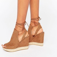 Call it Spring   Call It Spring Wirewiel Wedge Sandal With Wrap Around Lace at ASOS