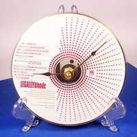 CD Clock, Desk Clock, Wall Clock, Legally Blonde, Recycled Music Compact Disc, Upcycle, Battery, Wall Hanger & Stand ALL INCLUDED