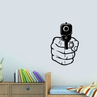 Housewares Vinyl Decal Gangster Hand with Pistol Gun Home Wall Art Decor Removable Stylish Sticker Mural Unique Design for Room