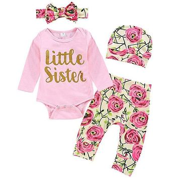 Baby Girls Clothes Headband Letter Bodysuits Floral Pant 3pcs Newborns Suits Spring Fall Long Sleeve Infant Set