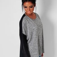 Franchesca Black & Grey Leather Effect Blouse | Pink Boutique