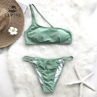 CUPSHE Green One shoulder Thong Bikini Sets Women Sexy Strappy Solid Triangle Two Pieces Swimwear 2018 Girl Beach Swimsuits
