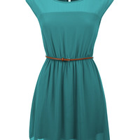 LE3NO Womens Soft Scoop Neck Flared Skater Mini Dress (CLEARANCE)