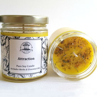 Attraction Soy Candle for Hoodoo, Voodoo, Wicca, & Pagan Spells