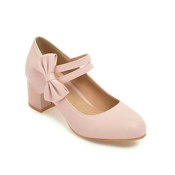 Ladies Sweet Butterfly Knot Thick Heel Mary Janes Woman Chunky Pumps
