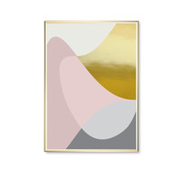 Pink Gray Pastel Round Shapes, Shapes Print, Modern Art Poster, Wall Art, Gold Waves, Geometric Poster, Home Decor, Real Gold Foil, Pink Art
