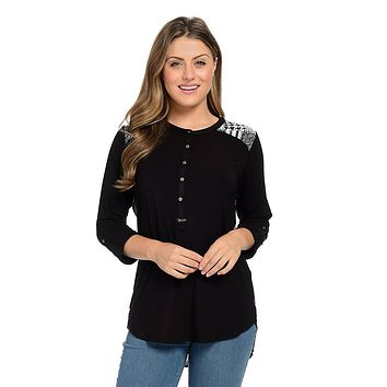 Nygard Solid & Patterned Knit Roll Tab Sleeve Hi-Lo Henley Top