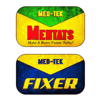 Fallout New Vegas Inspired Med-Tek Mentats and Fixer Vinyl Stickers