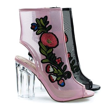 Ylang By Delicious, Floral Embroidery Patch, Lucite Perspex Block Heel See Through Mesh Bootie