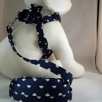 Dog Harness with Flower or Bow Tie and Leash Set - Pick Any Fabric in Shop