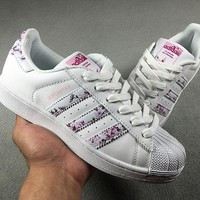 CREYON6GS Adidas Superstar W Shell-toe Flats White Pink Women Sneakers Causel Sport Shoes