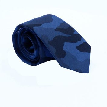 Blue & Black Camouflage Print Tie - One Piece Available