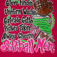 Southern Chics Funny Softball Mom 1 Pink Sweet Girlie Bright T Shirt