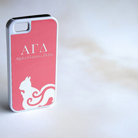 Coral Pink Alpha Gamma Delta Custom Sorority Hybrid Tough Phone Cover