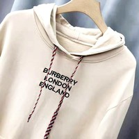 Burberry Tide brand autumn and winter new letter embroidery casual wild hooded sweater