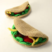 Taco Time - Large and Small Taco Crochet Pattern, set of 2 tacos - Toy Food - Play Kitchen - Amigurumi - CROCHET PATTERN No.72