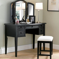 Powell Antique Black Vanity, Mirror & Bench - 502-290