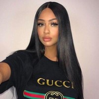 """Gucci""Hot Sale Letters Print Round Collar T-shirt Pullover Top I"