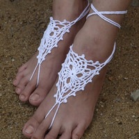 Crochet Barefoot Sandals Beach Wedding Yoga Shoes Foot Jewelry White, Lace Shoes, Yoga Shoes, Beach Pool = 1933042180