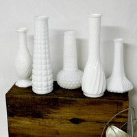 Eclectic Milk Glass Vase Collection - White Milk Glass - Vintage Vase - Shabby Chic - Vase Collection - Farmhouse White - Vintage Milk Glass
