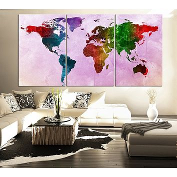 Large Wall Art Canvas Print Watercolor World Map Contemporary 3 Panel Triptych Watercolor Pink