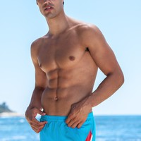 Sauvage Mens Swim Trunks - Color Splice 80s Swimmer - Turquoise