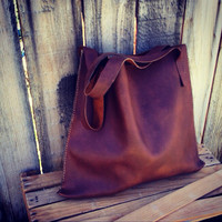 Large Heavy Duty Saddle Tan Leather Tote