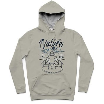 Chill With Nature Trendy All-Over Print Solid Cloudy Hoodie