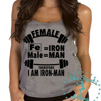 Female Ironman Gym Tank Top. Workout Tank, Gym Tank, Running Tank, Gym Shirt, Running Shirt, Workout Shirt, crossfit tank, workout clothes