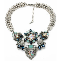Women Sparkly Faux Stone Statement Necklace