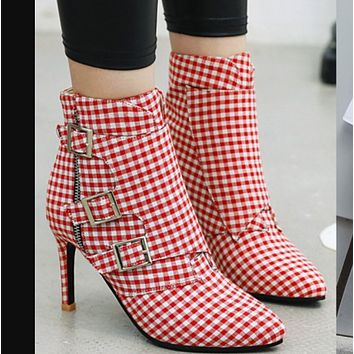 Hot style sexy patchwork plaid slim ultra-high heel pointy Martin boots  SHOES