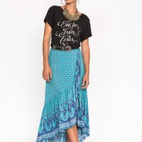 Sunset Road Wrap Skirt - Aqua