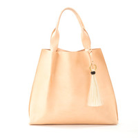 maggie tote in pink vegetable tanned leather with horsehair tassel-SOLD OUT