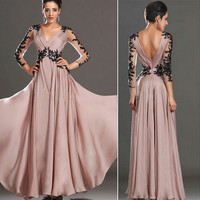 Autumn V-neck Lace Backless Long Sleeve Prom Dress [4919724292]