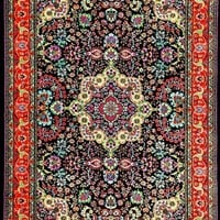 3045 Black Colorful Isfahan Oriental Area Rugs