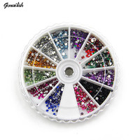 1059 glitter 3d nail art decorations 12 colors 2mm round diamond drill rhinestones for nails