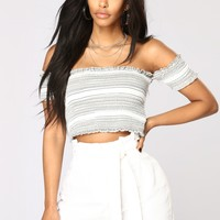 Summer Fling Off Shoulder Crop Top - Ivory Multi