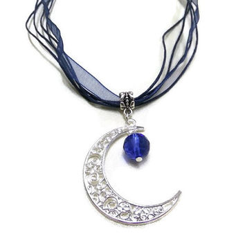 Silver Moon and Blue Crystal Necklace, Crescent Moon Necklace, Moon and Crystal Necklace, Celestial Necklace, Blue Necklace, Organza Cord