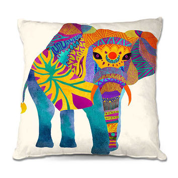 Whimsical Multi Color Aztec Elephant Throw Pillow in Blue, Yellow, Pink and Orange – 3 Sizes Available