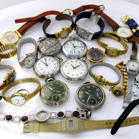 Destash Lot Pocket Watches All Running Metal And Leather Band Wrist Watches Vintage Collectible Gift Item 2077