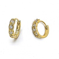 Gold Layered 5.131.035 Huggie Hoop, with White Cubic Zirconia, Polished Finish, Golden Tone