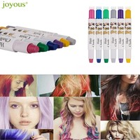 Joyous 6pcs High Quality Metal Coloring Crayons One-time Hair Dye Pen Hairdressing  6 Color Set Hair Styling Accessories