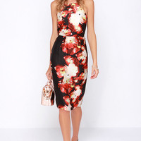 Front Rose Seats Black and Red Floral Print Midi Dress