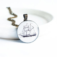 Nautical pendant necklace, naval jewelry, ship necklace, simple white pendant