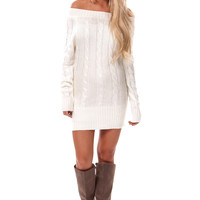 Ivory Long Cable Knit Sweater